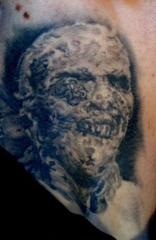 Black and Grey Lucio Fulci Zombie Portrait Tattoo on Dan Henk, (healed) tattooed on neck in 2005
