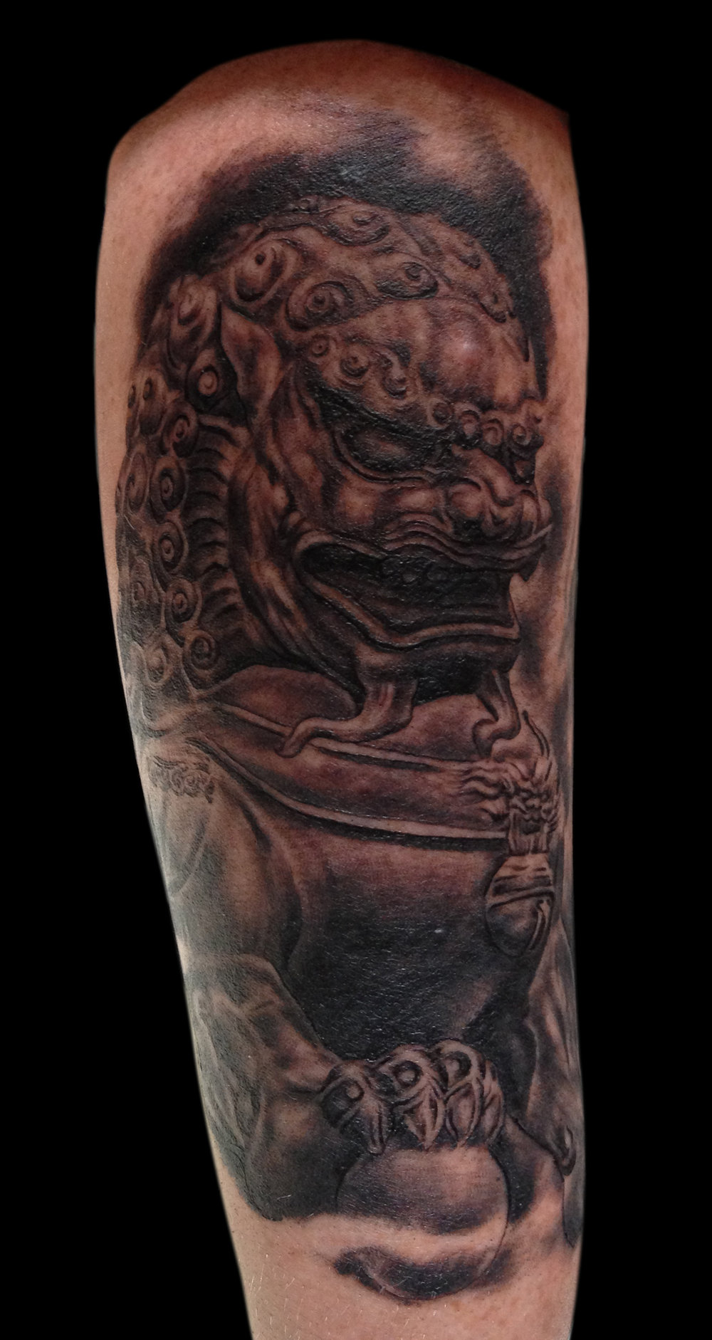 Black and Grey Foo Dog Tattoo