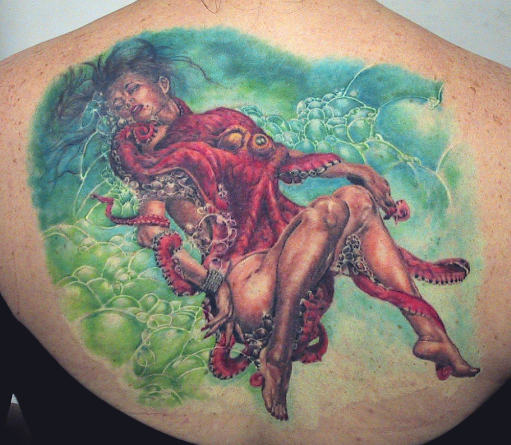 Color Tattoo Rendition of Soroyama Octopus Woman Painting, (healed) tattooed in 2001