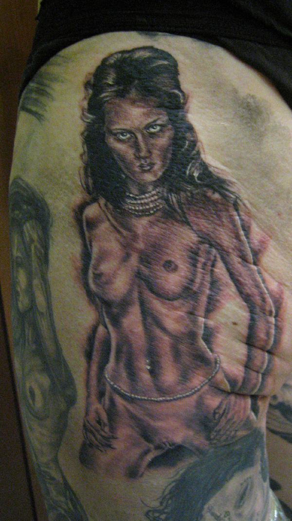 Black and Grey Female Nude Tattoo on Thigh, (fresh) Milano Tattoo Convention 2005
