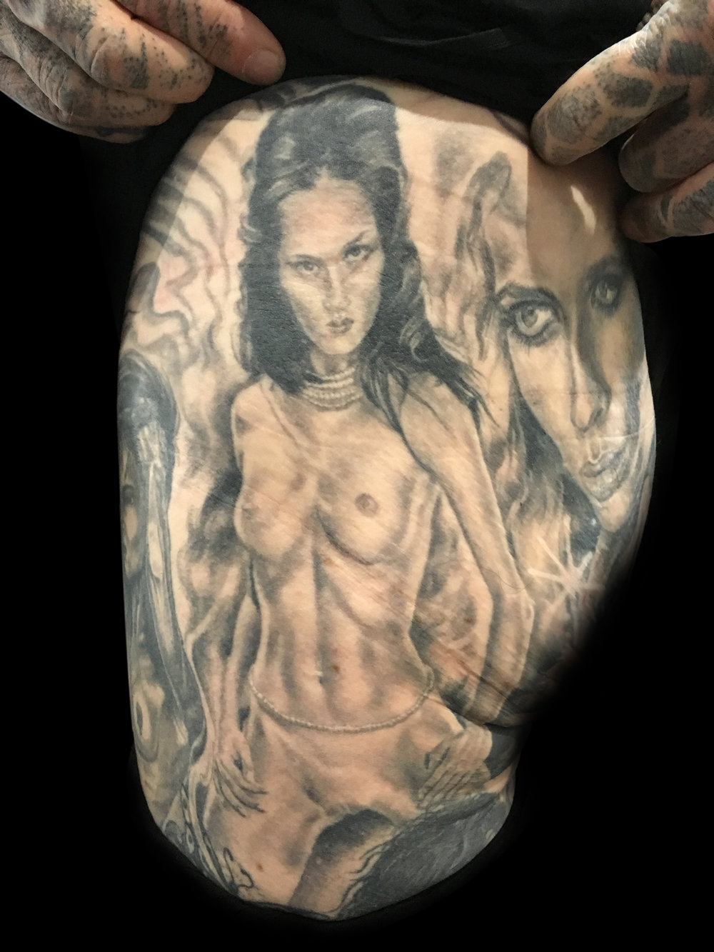 Black and Grey Female Nude Tattoo on Thigh,  healed and 12 years old in this photo