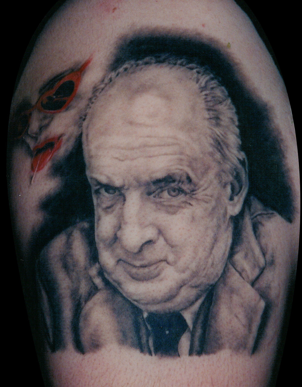 Black and Grey Vladimir Nabokov Portrait Tattoo, (healed) 1999