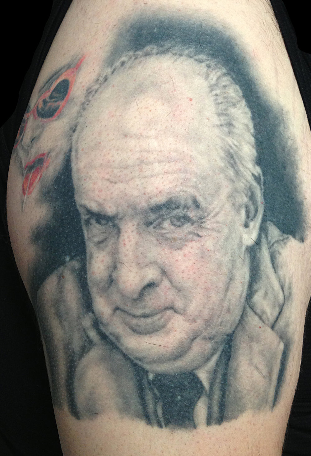 Black and Grey Vladimir Nabokov Portrait Tattoo, healed and 14 years old in this photo taken in 2013