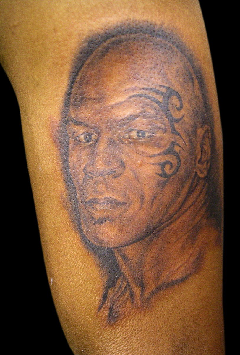 Black and Grey Mike Tyson Portrait Tattoo, Tattooed on Hip Hop Artist 'Murs', (fresh)