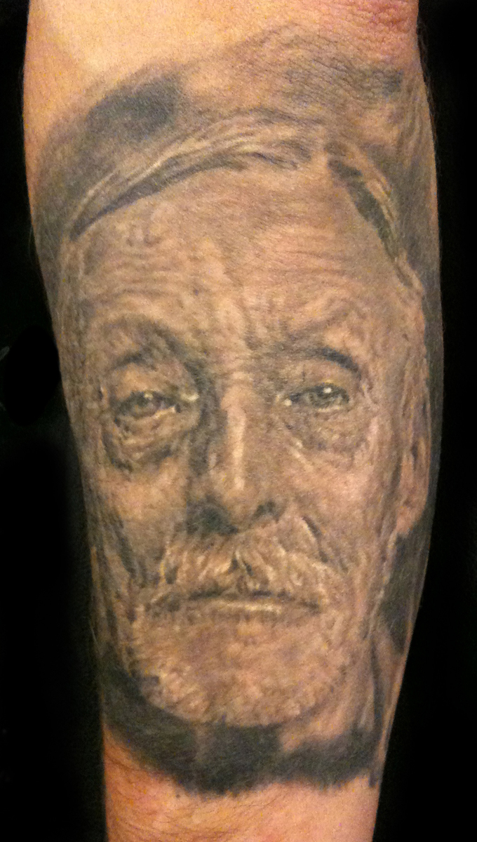 Black and Grey Albert Fish Portrait Tattoo, (healed) Stockholm Ink Bash, Sweden