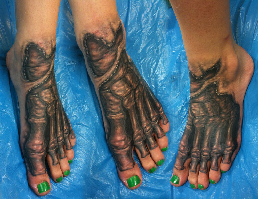 Black and Grey Anatomical Gore Tattoo of Foot Bones, (fresh)