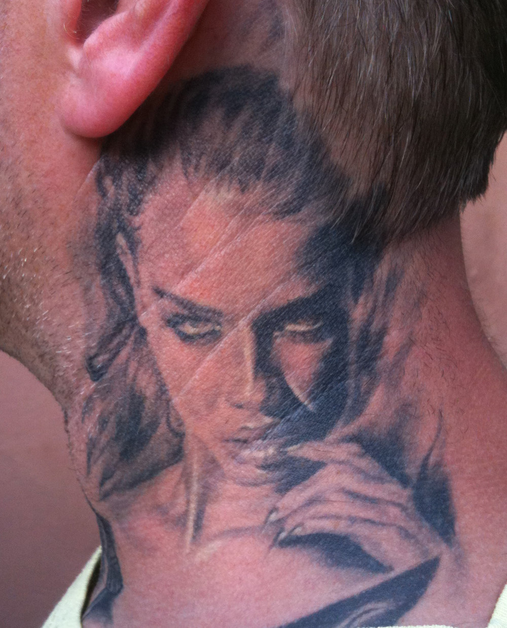 Black and Grey Neck Chick Portrait Tattoo, (tattoo is healed and 6 years old in this photo), Stockholm Ink Bash, Sweden