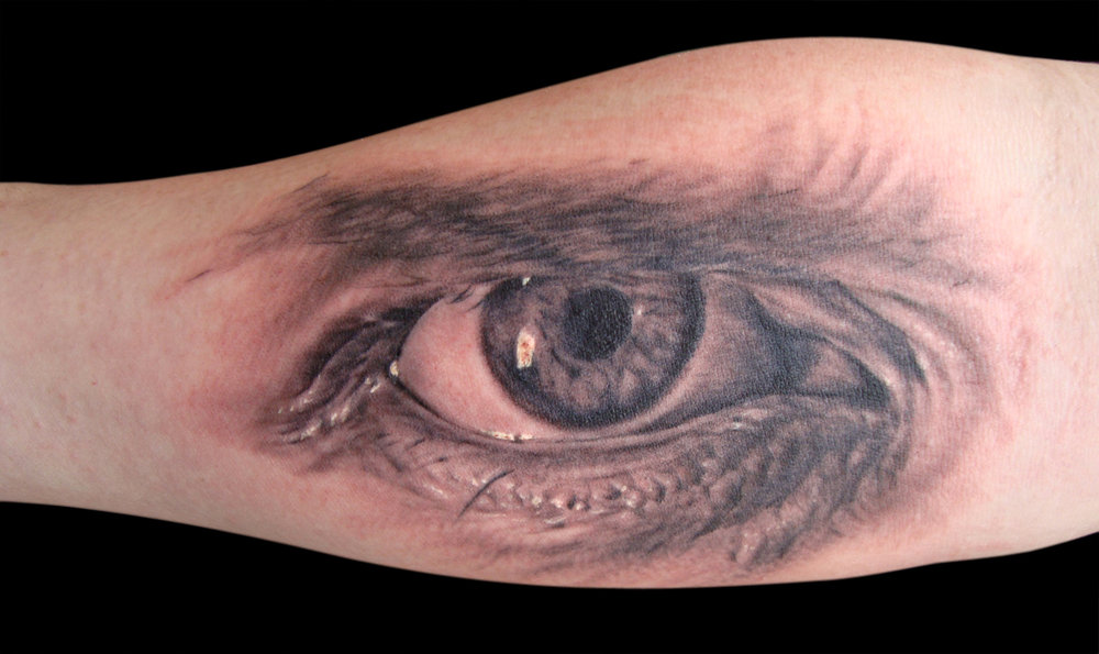 Black and Grey Realistic Eye Tattoo, (fresh) forearm