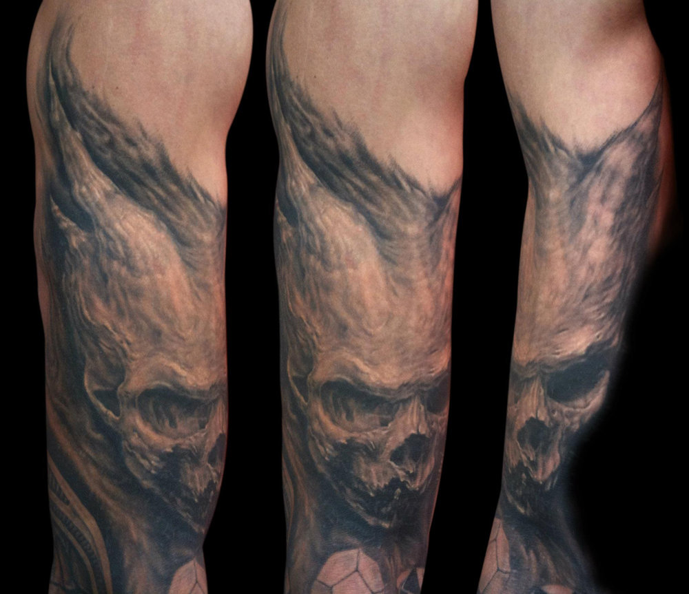 Black and Grey Realistic Horror Skull Tattoo with Horns, (healed)