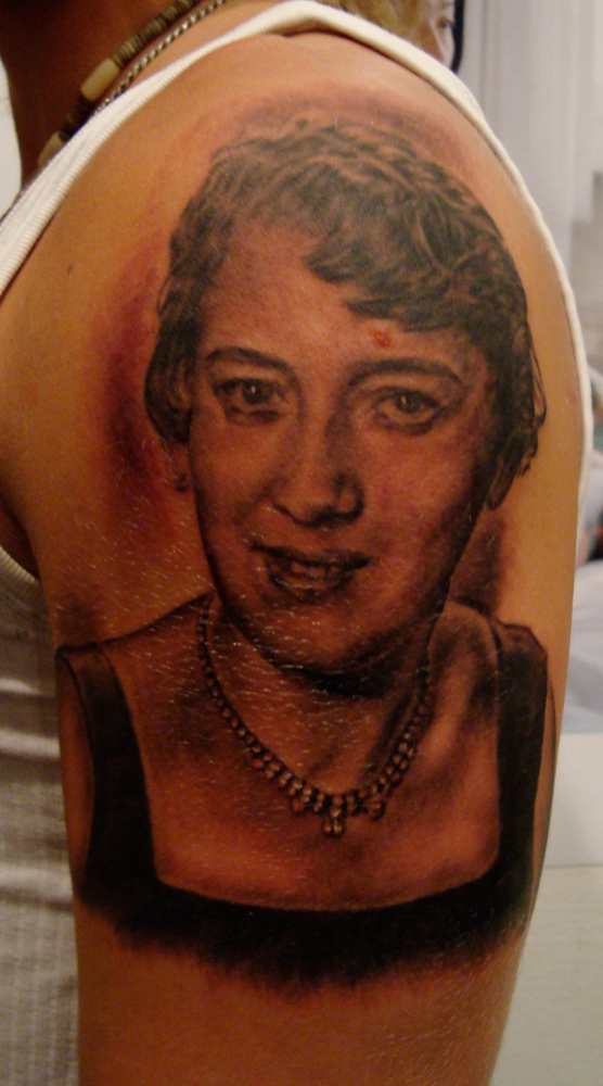 Black and Grey Portrait Tattoo  Here is one I always really liked, but never got a good photo of it.  Tattooed at Stockholm Ink Bash, Sweden.