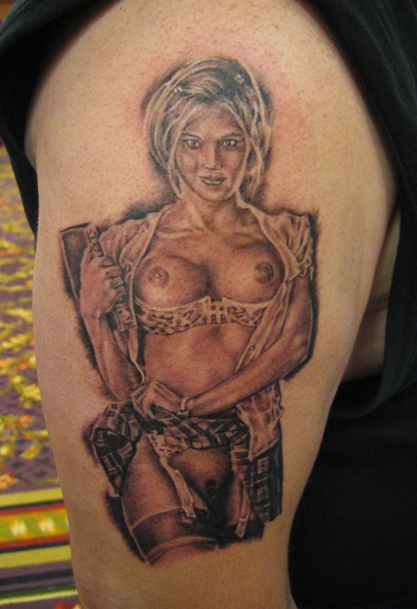 Black and Grey 'Sexy Student' Pin Up Tattoo, (fresh) 2003  Texas Tattoo Round-Up, Dallas Tattoo Convention, USA