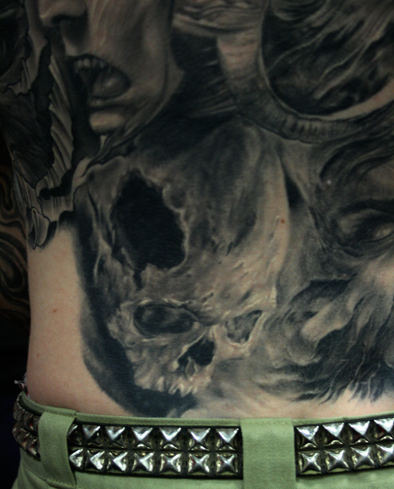 Black and Grey 'Painterly Style' Skull Tattoo, (healed photo) on back, Ink and Iron Tattoo Festival Queen Mary, Long Beach, USA