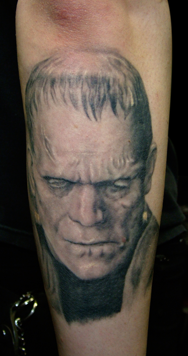 Black and Grey Frankenstein's Monster Horror Portrait Tattoo, (healed photo)