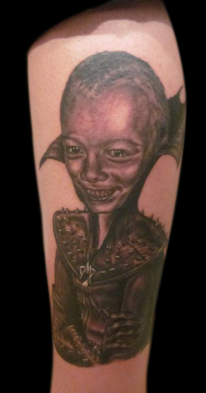 Black and Grey Child Portrait in Megamind Suit.  Tattooed at 'King of Tattoo' convention, Tokyo, Japan.