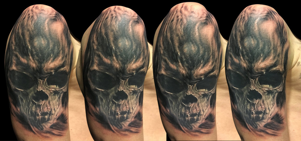 Black and Grey Skull Cover Up Tattoo, (part fresh part healed)