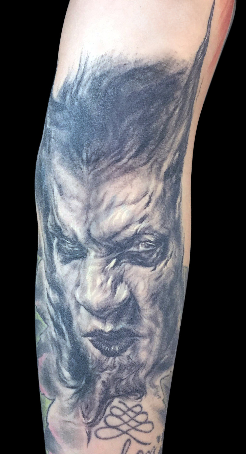 Black and Grey Demon Tattoo, tattooed at Barcelona Tattoo Expo (healed)