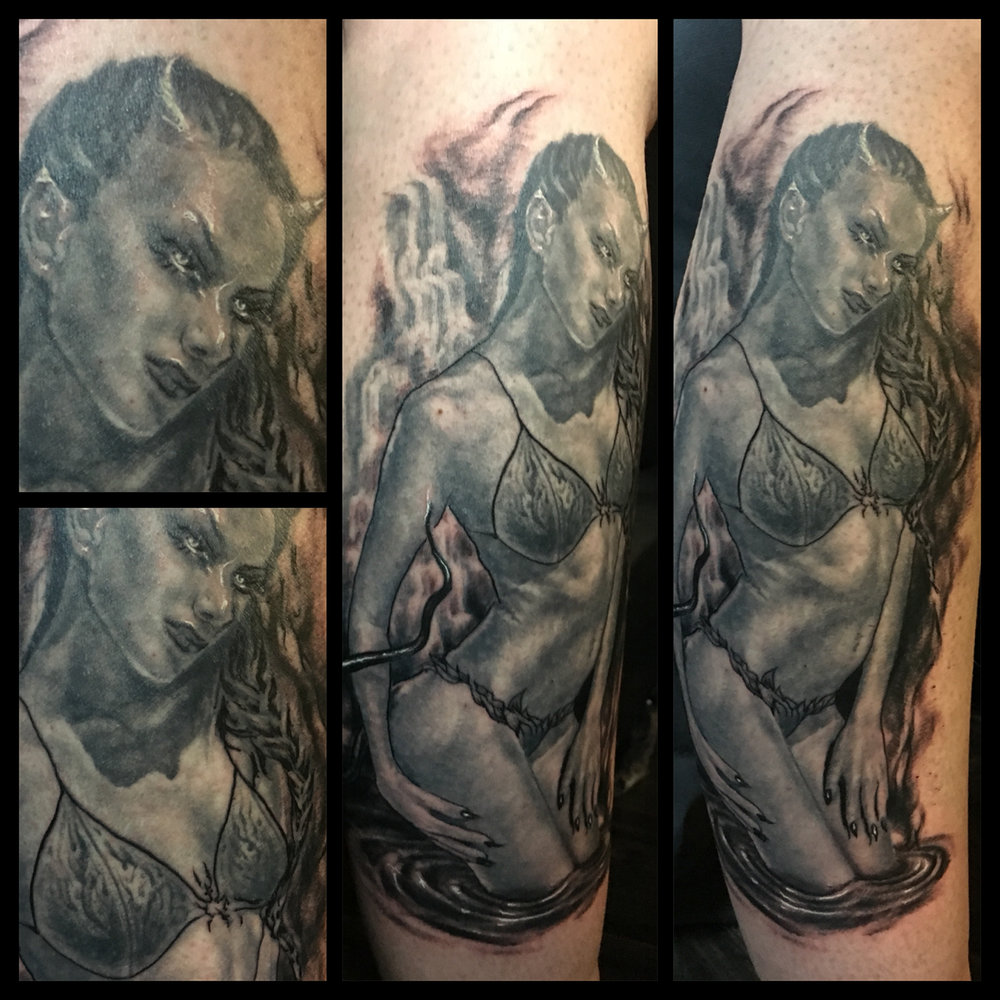 Black and Grey Aquarian Devil Girl Tattoo