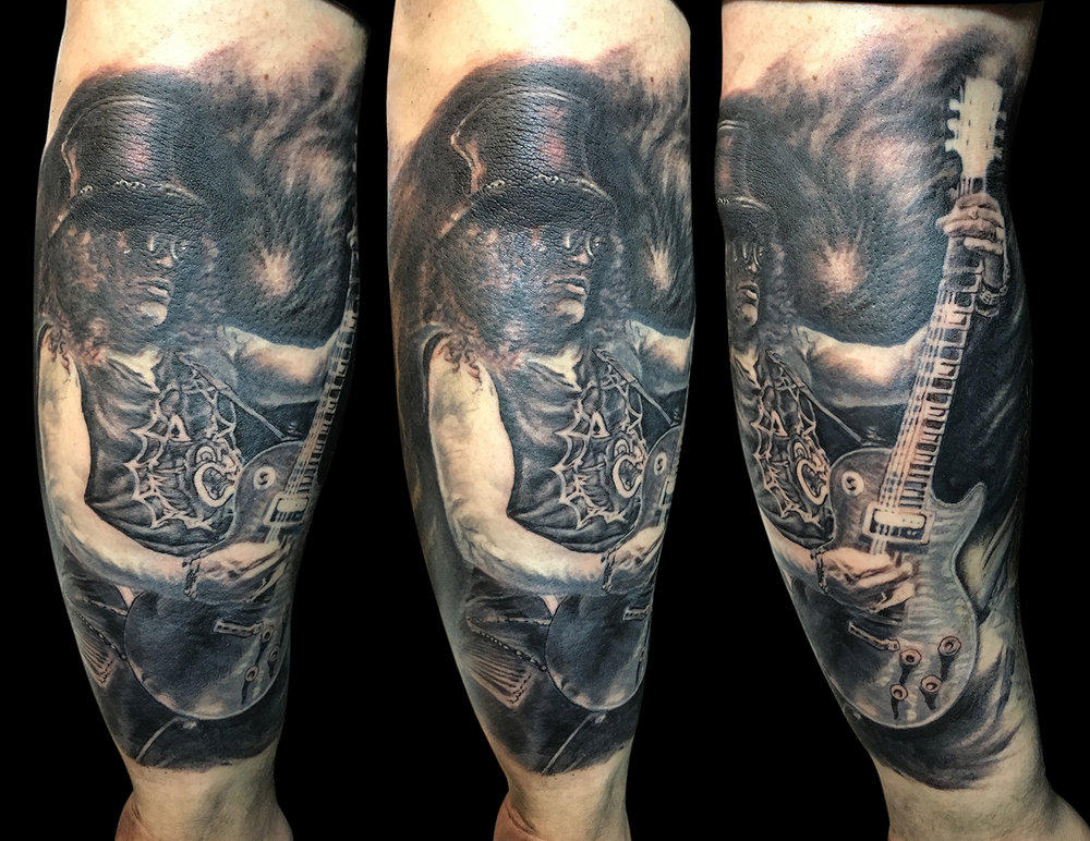 Black and Grey Slash with Guitar Portrait Tattoo