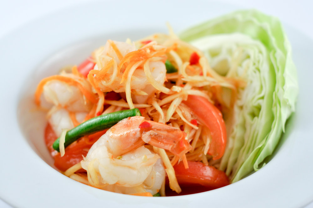 Tum Koong – Papaya Salad with Prawns