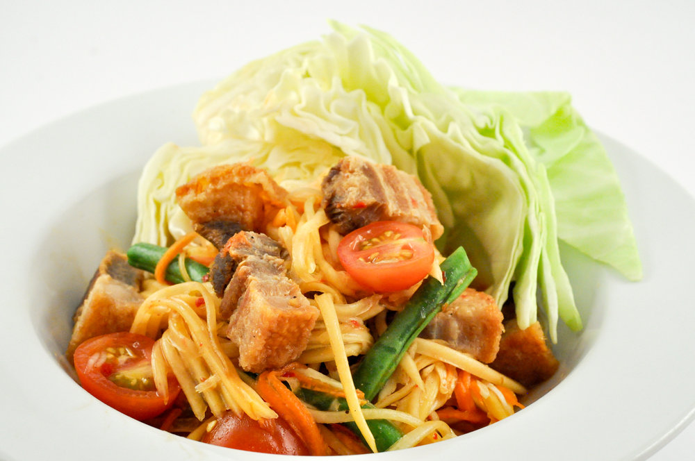 Tum Moo Krob - Papaya Salad with Crispy Pork Belly