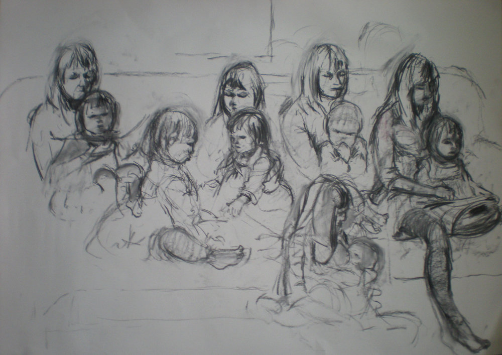 Quick sketches of mother and child on a sofa