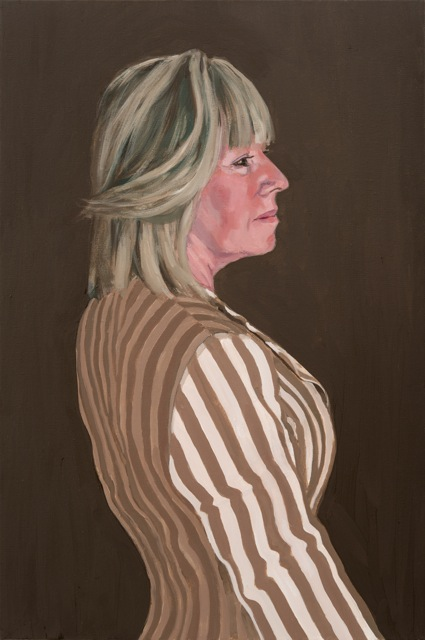 Lady in a striped jacket