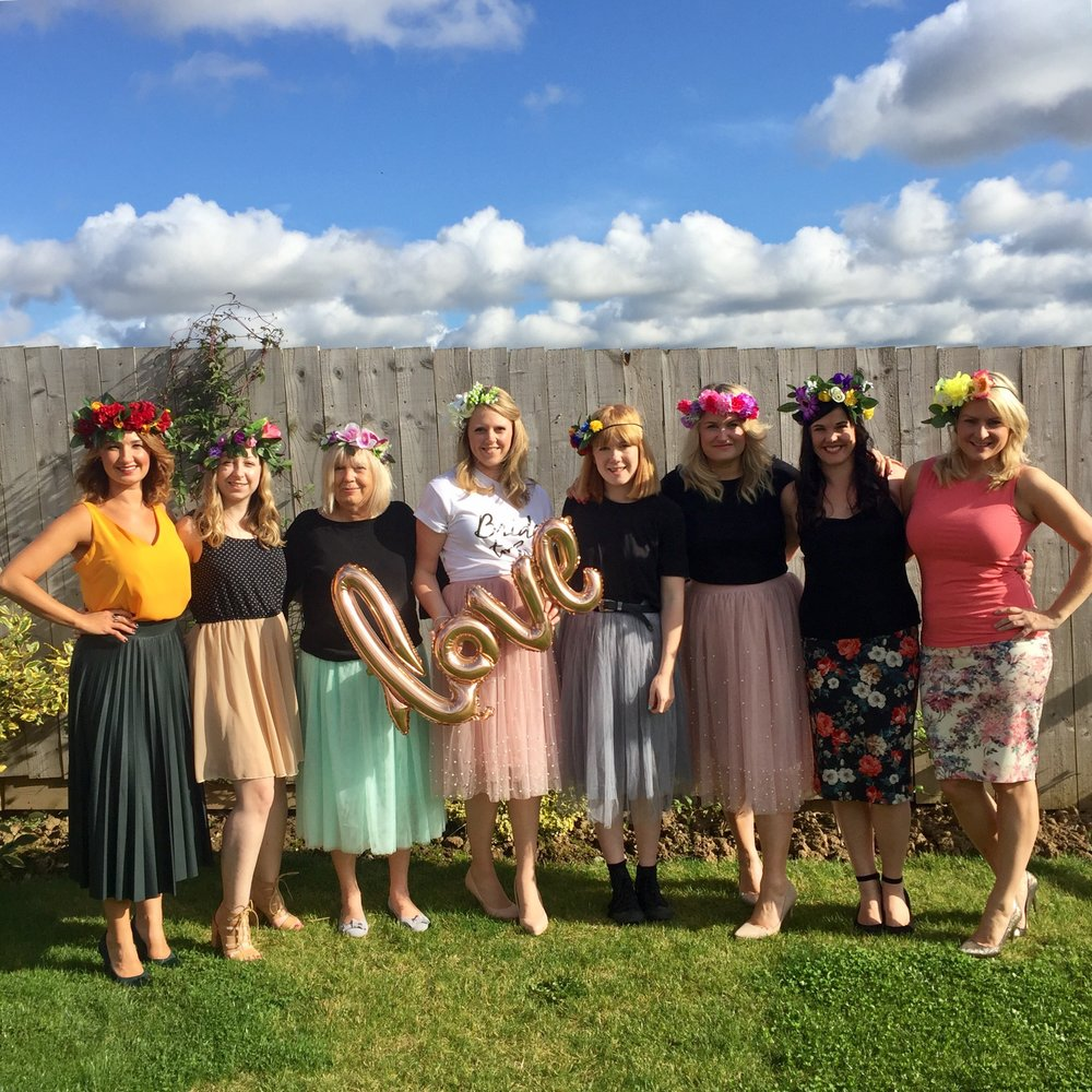 flower crown making hen party comes to accommodation