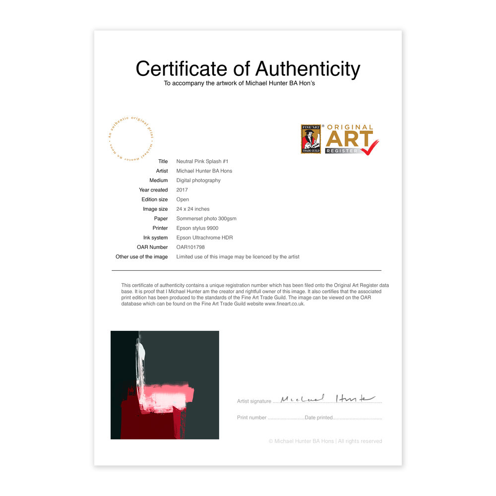 Example Certificate Of Authenticity