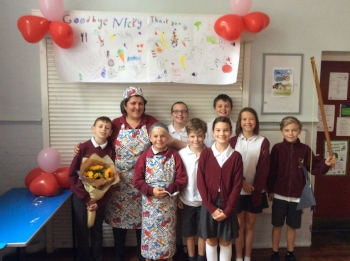 Year 6, along with the rest of the school, did a fantastic job of presenting their memories of Nicky during a special assembly - lots of laughs and tears!. Who's that under the hairnet?!