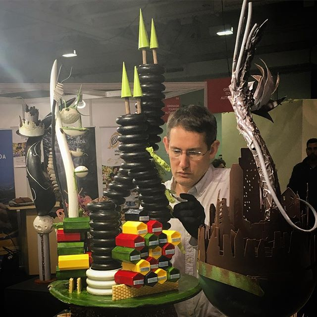 Deep in concentration: newly crowned UK Chocolate Master @choc_barry preparing his chocolate showpiece from @worldchocolatemasters uk selection for display at @thelondonchocolateshow this weekend. 🥇🏆 @cacaobarryofficial #thechocolateshow #chocolateshowpiece #futropolis #awardwinning #ukchocolatemaster #chocolate #masterpiece #winner #olympia