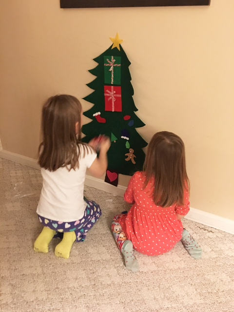 Interesting placement of the presents, girls.