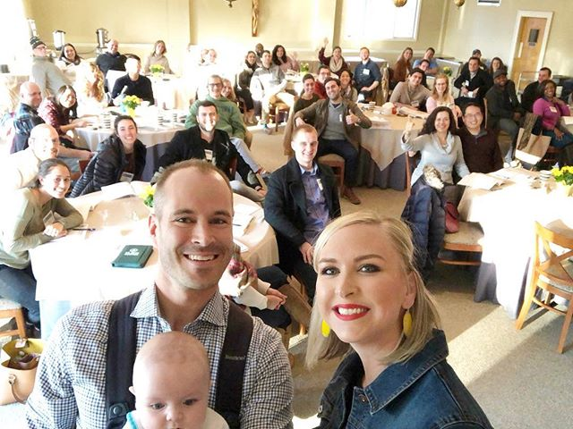 Flashback to last weekend when Joel and I were fortunate enough to speak to engaged couples about fulfilling the emotional needs of your spouse! Talking to married and engaged couples has honestly brought so much joy to our lives. I am so encouraged after I spend time with the happy, shining faces of engaged people 🤩 As dorky as it sounds, we have found great fulfillment in doing what God has called us to do! (It's also extra fun when friends are in the crowd like @missalexandrajoy!)(And also when Mr. Blaise is with us) ❤️❤️❤️#engagementretreat #marriage #engagement #happycatholic #catholicfaith #love #happycouple #joelandcharmarriagetalks