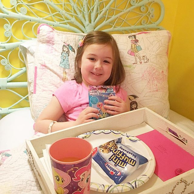 """She's 5!! 🎉 Happy Birthday to our Poppy cat who is truly a ray of ☀️ to our family! So sweet, so kind, so fun, so obsessed with Shopkins...and we wouldn't have it any other way! We love you!! (Pictured here is the """"breakfast in bed"""" Felicity brought to Pops this morning, complete with a gift she picked out for her 😭 sibling love is the best! ❤️) #happybirthday #poppy #love #5thbirthday"""