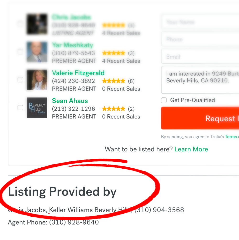 This is how Trulia displays listing agent's information. That is after a lot of scrolling through neighborhood and market stats.
