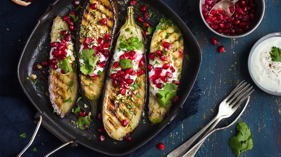 Grilled Eggplant with Taste5 Yogurt Sauce