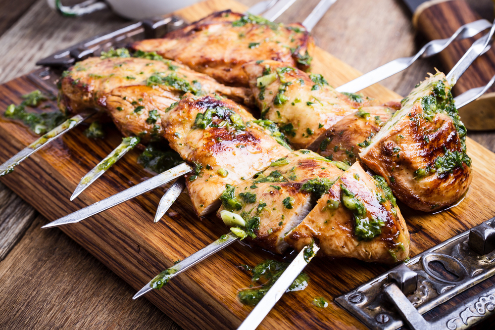 Yogurt Marinated Chicken Skewers - with Taste5 Vegetarian