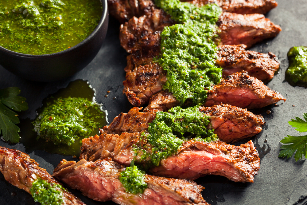 Grilled Skirt Steak+ Taste5 Herb Sauce - with Taste5 Vegetarian
