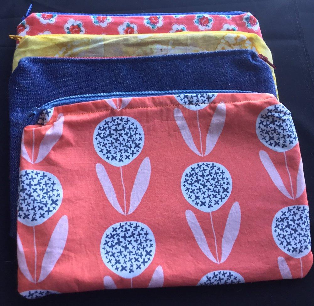 Zippered bags made in Zippers and Buttons class at Lillstreet Art Center, 2017