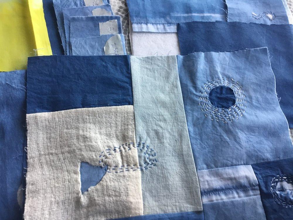 Indigo dye cotton and linen with Boro stitching, 2018