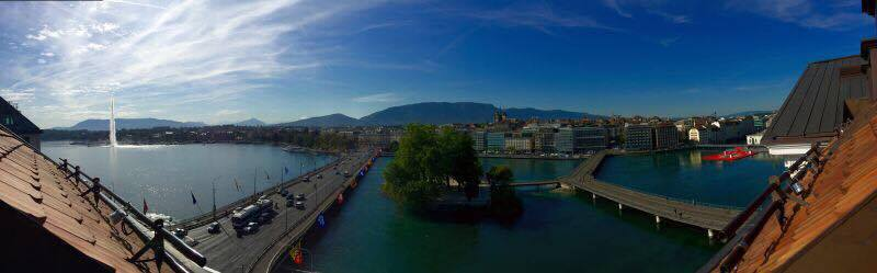 A panorama of the Geneva skyline.
