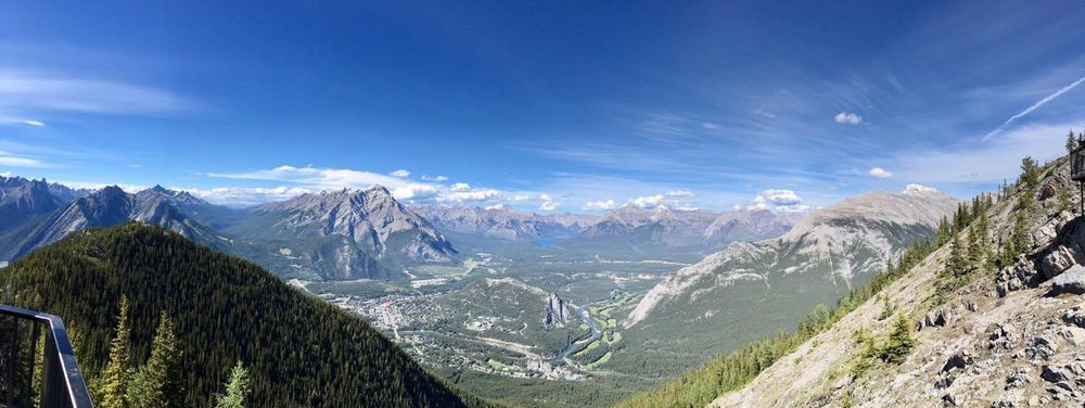 The  Banff Gondola,  in the town of Banff, takes visitors atop the  Sulfur Mountain  for an unbroken view of the Rocky Mountain ranges.
