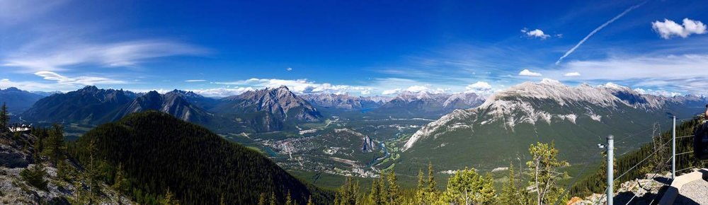 Astonishing hues of blue, green, white and ash dominate the scenery as far as the eye can see. On a clear day, the Canadian Rockies are a wonder to behold from this vantage point.