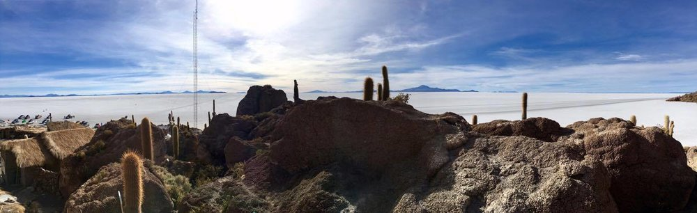 A final stop in the day-long tour was an 'island' in the middle of the salt flats. Shrouded in cactuses, the island rose out of the flats in a strange, extraterrestrial fashion to greet visitors from afar.