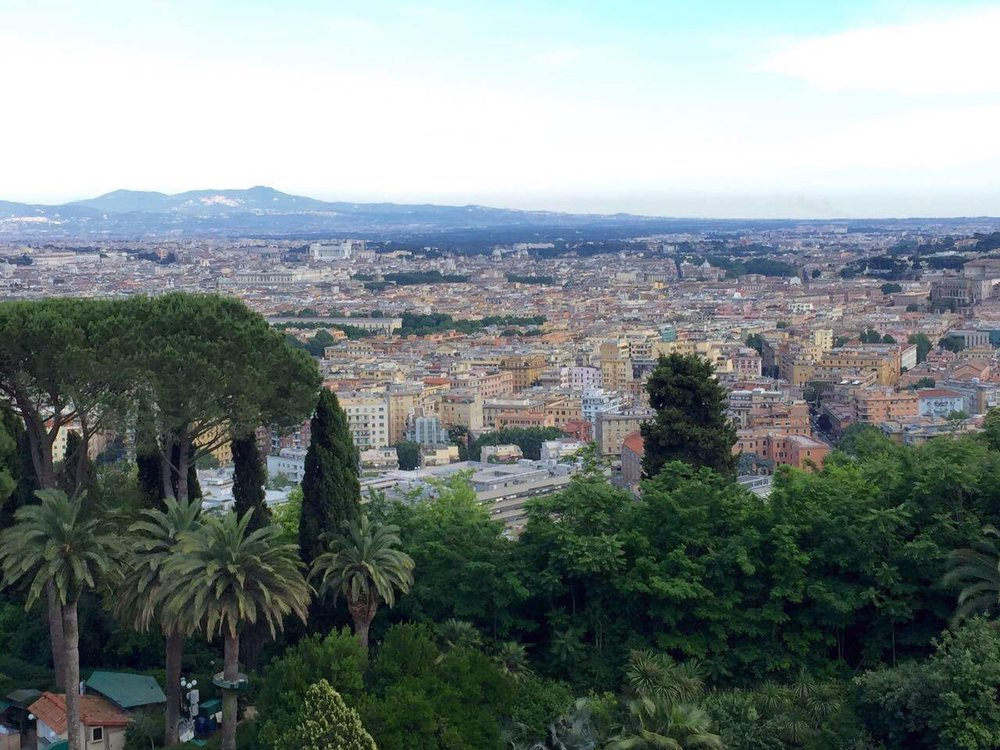 A view of Rome from atop the city's highest hill. A fine dining option: the Rome Cavalieri features the city's only three Michelin star estalishment: La Pergola.