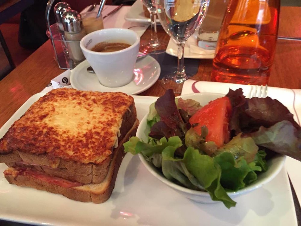 A classic: le croque monsieur. Le croque madame has an egg on top