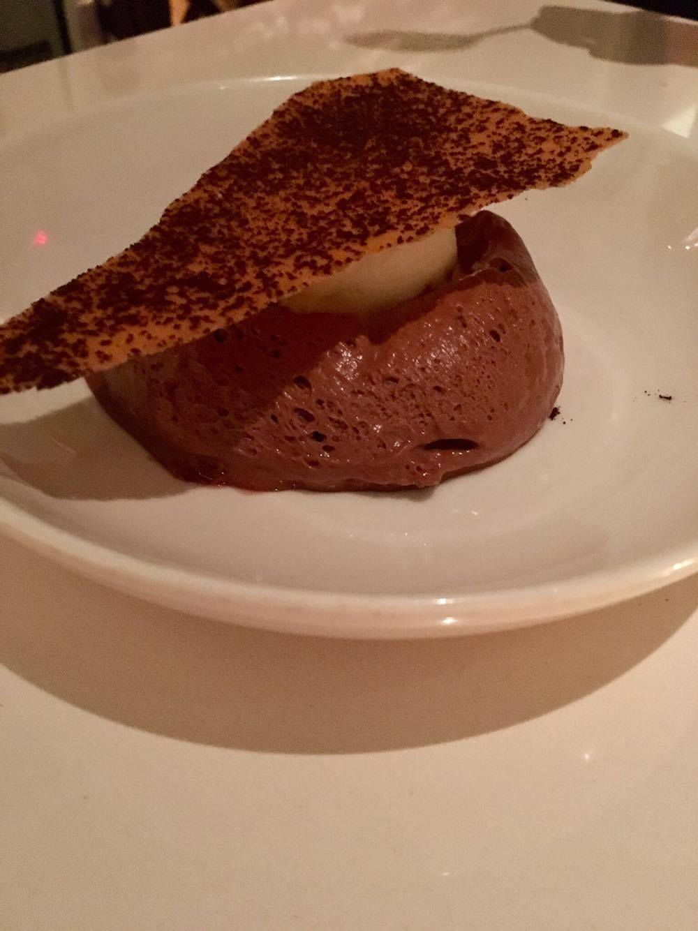 70% cocoa mousse, crunchy tile and Extra Virgin Olive Oil Gelato