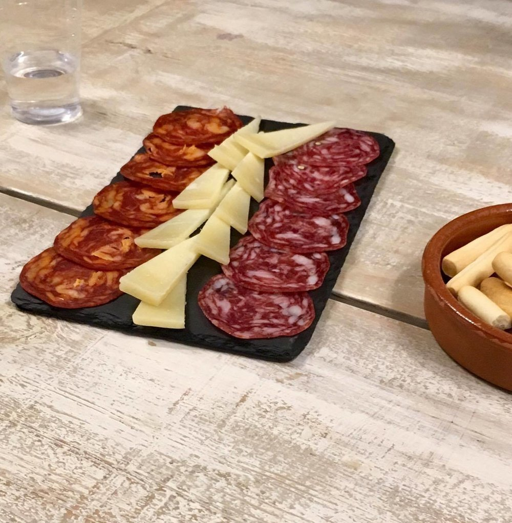 Chorizo, Manchego cheese, and salami