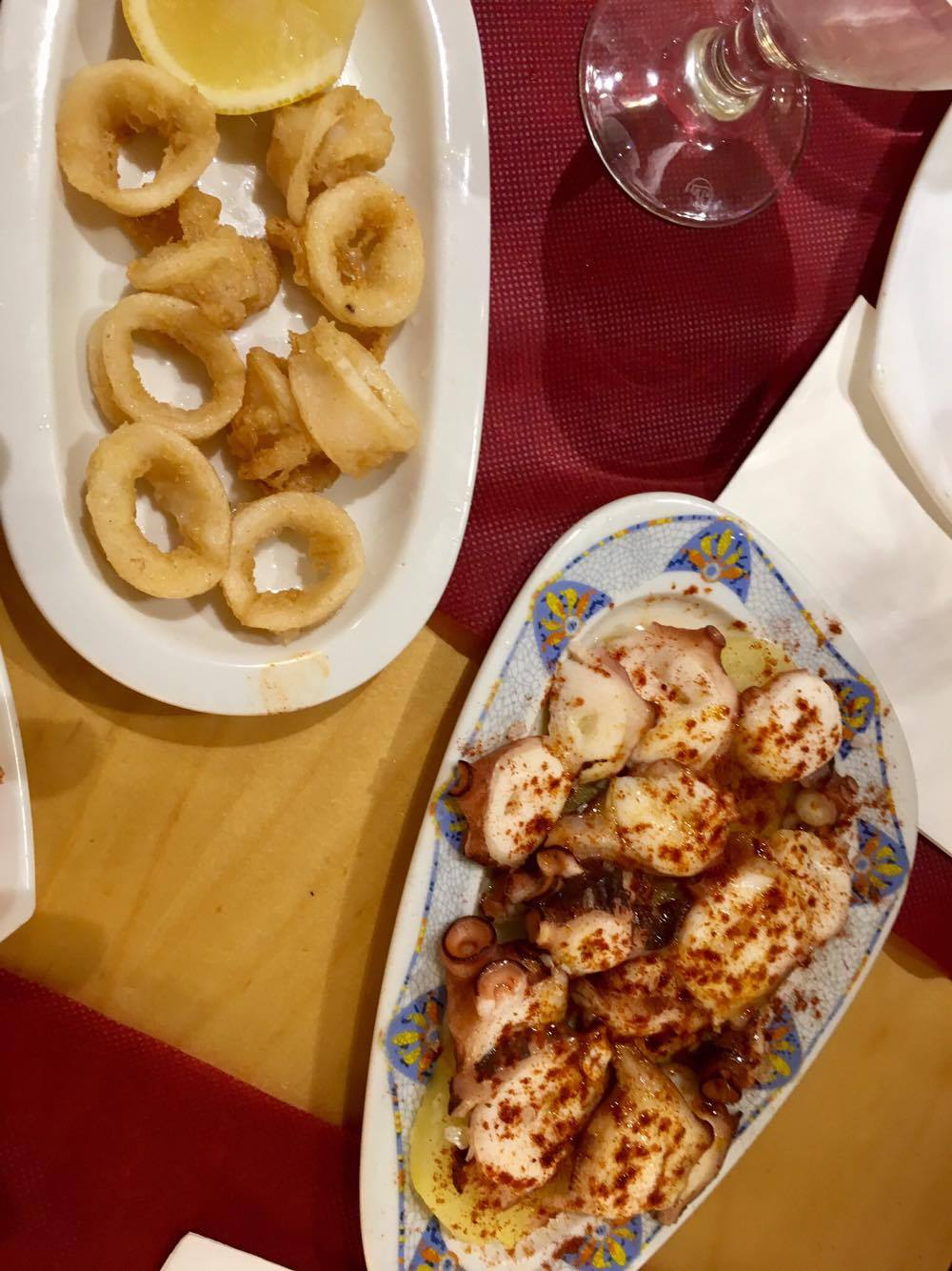 Fried calamari and braised octopus