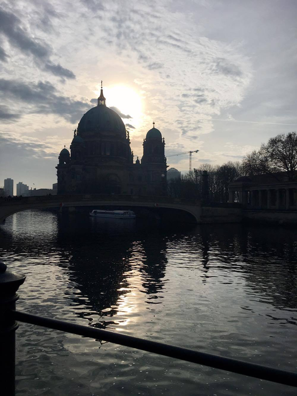 The back of the Berlin Cathedral, with its shadows set against the river Spree.