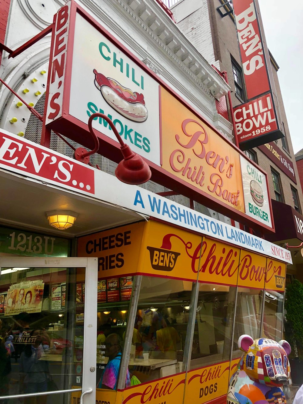 - By the way, we were not full after this, so....we ended up the capital's iconic Ben's Chili Bowl, just around the corner from Compass Rose, to try one of their famous chili dogs.
